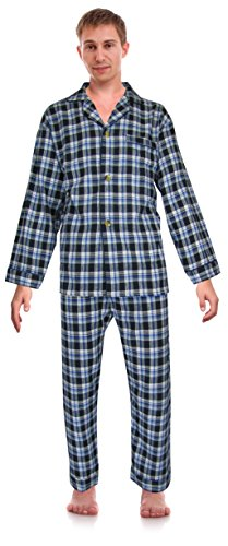 Robes King RK Classical Sleepwear Men's 100% Cotton Flannel Pajama Set, Size X-Large Blue (Pajama Set Pants Flannel)