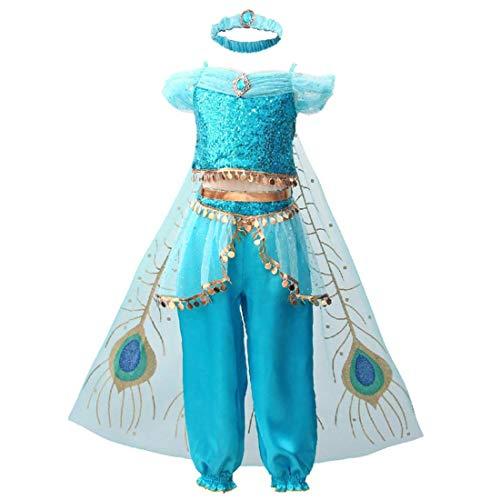 Kids Arabian Princess Costume Deluxe Blue Sequins