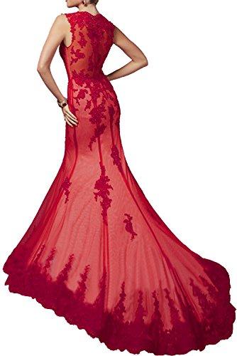 Neuheit Langes Ballkleider Promkleider Charmant Spitze Elegant Abendkleider Damen Meerjungfrau Rot Rot r8qqyzIZ