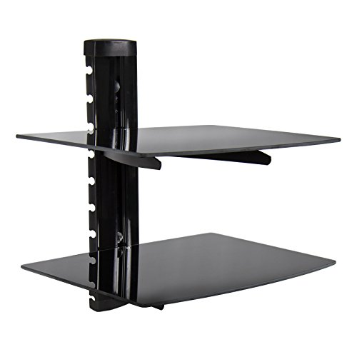 2 Tier Dual Glass Shelf Wall Mount Bracket Under TV Component Cable Box DVR DVD (Outdoor Furniture From Pallets Instructions)