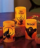 DECORATIVE HALLOWEEN FLAMELESS LED CANDLES - SET OF 3