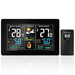 AZXJC Weather Station, Digital Color Forecast Station with Sensor, Home Alarm Clock with Temperature Alerts, Charging USB Port, Moon Phase,Humidity Monitor
