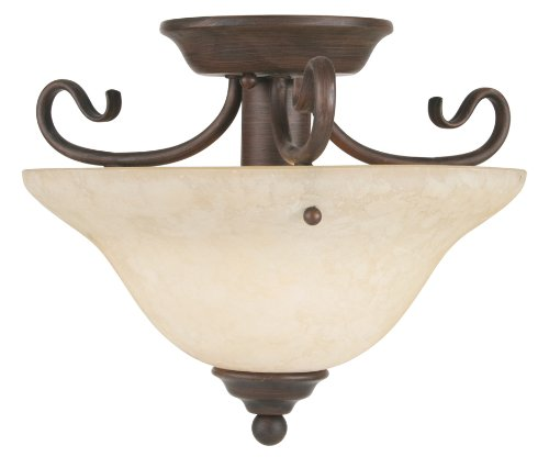 New Imperial Bronze Finish - Livex Lighting 6109-58 Coronado 1 Light Imperial Bronze Semi Flush with Vintage Scavo Glass