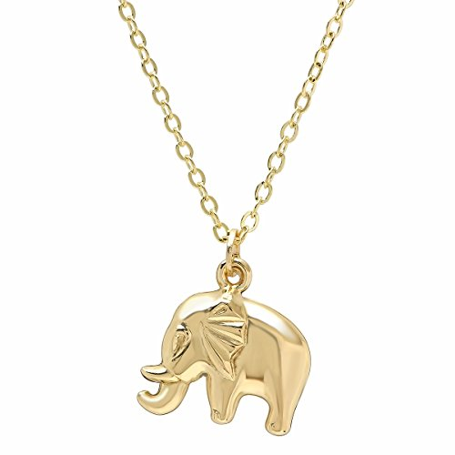 (Pori Jewelers 14K Yellow Gold Large Elephant Pendants in Diamond Cut 14K Gold Cable Chain Necklace -18