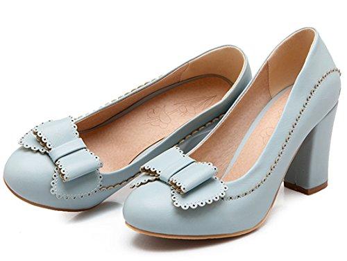 YE Damen Chunky High Heels Plateau Schleife Pumps mit Blockabsatz 8 cm Absatz Schuhe Blau