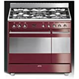 Smeg SCB92MRW8 Autonome Cuisinière à gaz A Marron, Acier inoxydable four et cuisinière - fours et cuisinières (Cuisinière, Marron, Acier inoxydable, boutons, Rotatif, Devant, Cuisinière à gaz, Small)