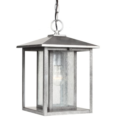 Sea Gull Lighting 62027-57 Outdoor Pendant with Clear Seeded Glass Shades, Weathered Pewter Finish - Weathered Pewter Finish