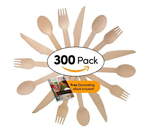 Disposable Wooden Cutlery Set   300 Pieces 100 Spoons 100 Forks   100 Knives   For Parties Camping Picnics Weddings Bbq Birthdays Beach   Eco Friendly Biodegradable Compostable Utensils Combo Pack