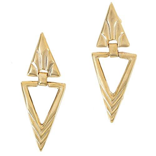 Pierced Earrings Yellow Gold Tone Deco Inspired Triangle Door Knocker 2