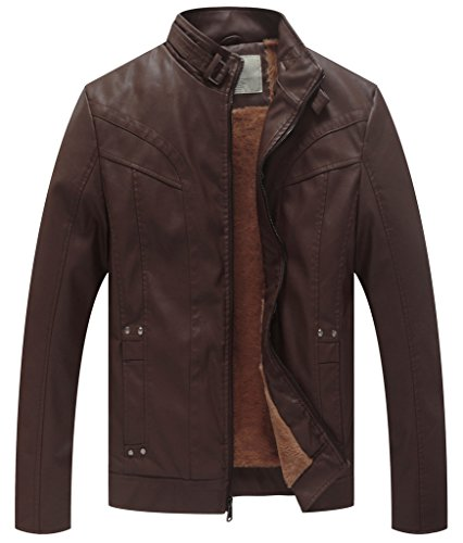 WenVen Men's Classic Police Style Faux Leather Motorcycle Jacket (Brown, Size S)