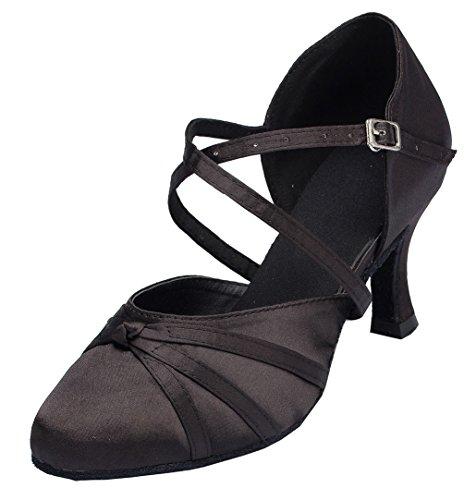 Abby Yfyc-l117 Dames Latin Tango Ballroom Middelhoge Professionele Satijnen Dansschoenen Zwart