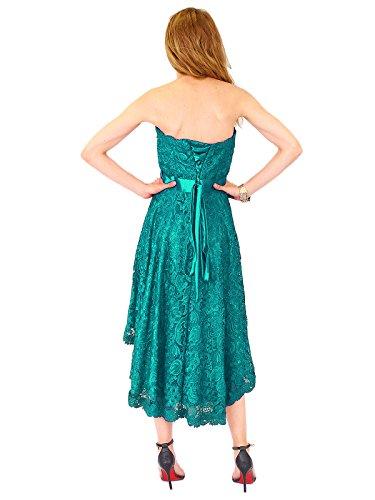 amp;Christine 38 lang Hinten Abendkleid Juju kurz Cocktail Kleid Kleid Vokuhila Spitzenkleid 1381 Petrol vorne UZxdwwRq