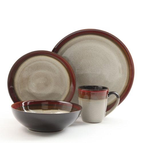 Rustic Stoneware Mug - Gibson Elite 90603.16RM Couture Bands 16 Piece Reactive Glaze Dinnerware Set, Red and Cream