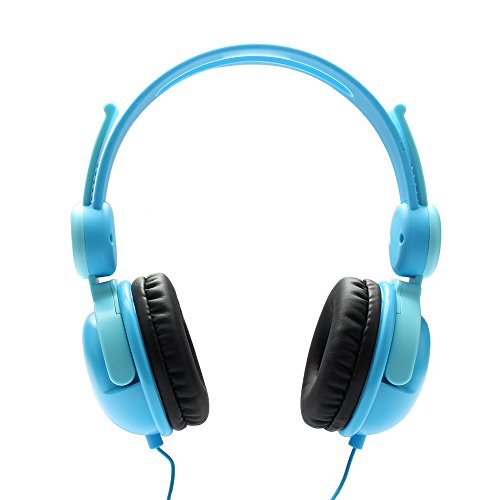 Fanxieast Children Protect Volume Limited Safe Lightweight Materials Wired Headphones With Microphone for Children/Kids (Blue)