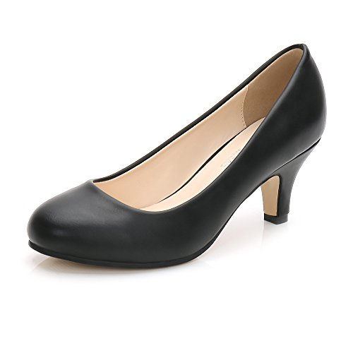 Dress Heel Pump Shoe (OCHENTA Women's Closed Round Toe Low Kitten Heel Slip on Dress Pump Black PU Tag 39 - US B(M) 8.5)