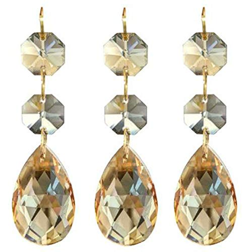 Little Chair 10Pieces Teardrop Crystal Chandelier Pendants Parts Beads,Hanging Crystal Beads Chain Garland,Door Curtain,Candlestick,Party Wedding Chirstmas Decoration(38mm) (Champagne)