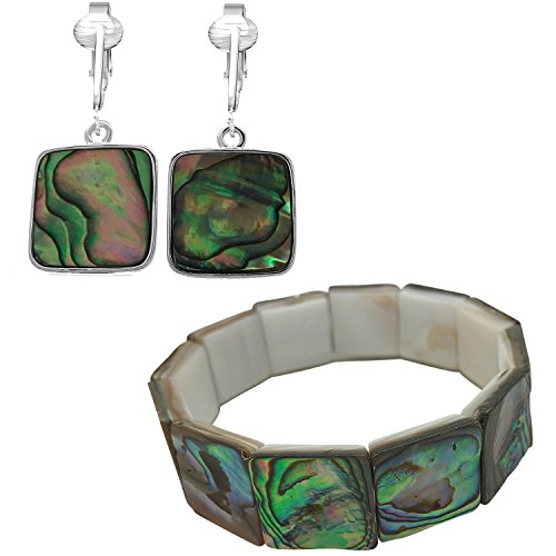 Tahitian-Style Abalone Paua Shell Clip On Earrings-Authentic Ocean Shells Romantic Holiday, Authentic (Paua Cubes/Bracelet Jewelry Set)