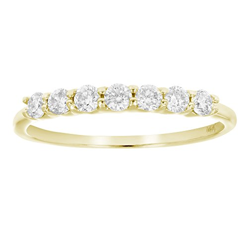 AGS Certified SI2-I1 1/2 ctw 7 Stone Diamond Wedding Band 14K Yellow Gold Size 6