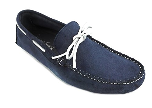 Zerimar Herren Leder Schuhe Mokassin Herren Lederschuh Schuh Leder Casual Schuh Täglicher Gebrauch Schöne Leder Schuhe für Den Mann Sportlich Schuh Farbe Blau Größe 42