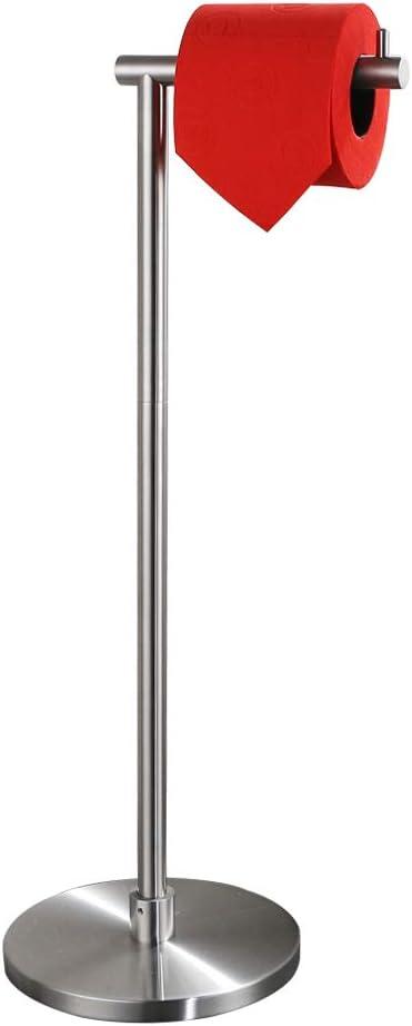 Modern Bathroom Tissue Holder Free Standing Hold Mega Rolls TPHS100-BN 22.83 Inch Brushed Finish Round Base JQK Toilet Paper Holder Stand