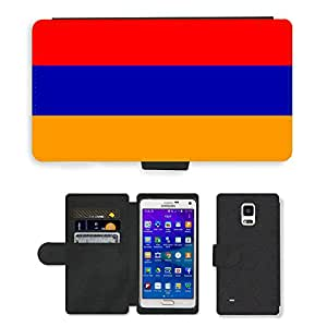 GoGoMobile Flip PU Leather Wallet Case with Credit Card Slots // V00001006 armenia National Country Flag // Samsung Galaxy Note 4 IV