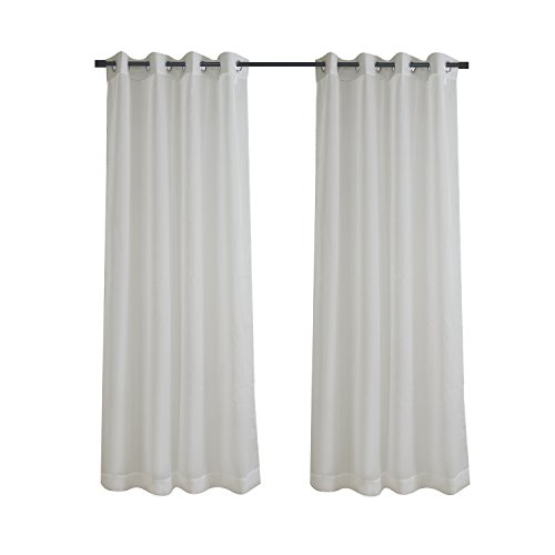 Aquazolax Sleek Sheer Voile Panels Solid Window Curtain Draperies for Kitchen Parlor, 1 Pair, 54 Wide x 63 Long, Grey
