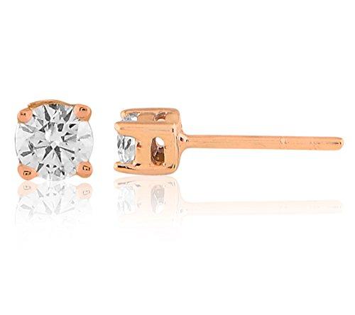 Libertini Boucle d'oreille argent 925 plaque or Rose serti de Diamant Solitaire