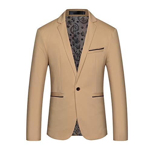Khaki Sport Coat - Mens Slim Fit Sport Coat Casual One Button Solid Color Jacket Blazer Khaki