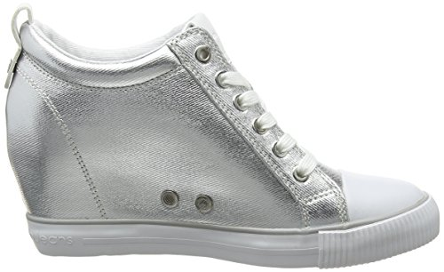 Calvin Klein Rory Metal Canvas/Flocking, Sneaker a Collo Alto Donna Argento (Svw 000)
