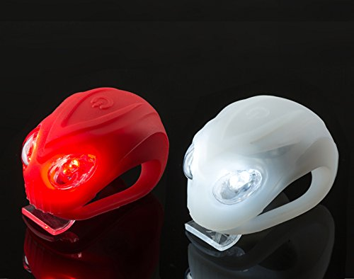 Silicone Safety LED Headlight Set for 2 pcs Flashlight Red and White Battery Included and 1 Piece Neck Gaiter (random pattern) Bike Lights Alien Shape - Planet Blue Angeles Los