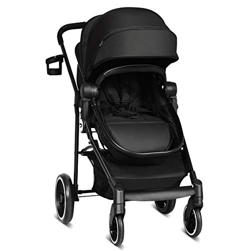 INFANS 2 in 1 Baby Stroller, High Landscape Infant Stroller & Reversible Bassinet Pram, Foldable Pushchair with Adjustable Canopy, Storage Basket, Cup Holder, Suspension Wheels (Black)