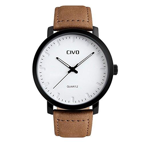 CIVO Männer Braun Lederband Analog Quartz Uhren Luxus Minimalism Elegant Wasserdichte Business Mode für Herren Uhr Einfaches Zeitloses Design Klassisch Casual Kleid Männlich Armbanduhren Weiß Dial