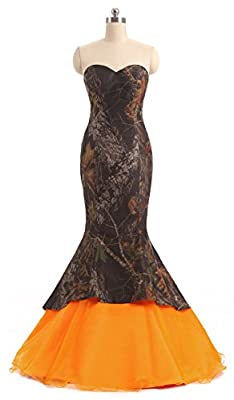 Snowskite Womens Sweetheart Mermaid Camo Orange Wedding Bridal Dress