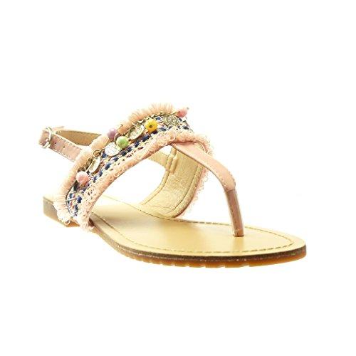 Angkorly - Chaussure Mode Sandale Tong salomés femme brodé bijoux fantaisie Talon plat 1.5 CM - Rose