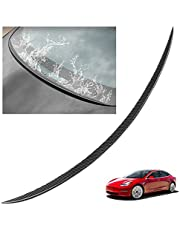 ABS Carbon Fiber Texture Rear Trunk Rain Deflector Water Wing Window Spoiler for Tesla Model 3 2016-2021, 3M Adhesive and Easy Installation