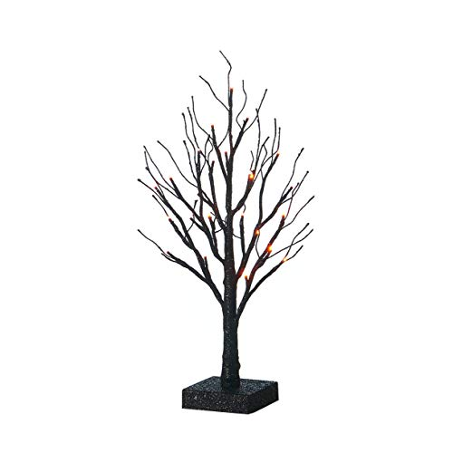 Hairui Tabletop Black Spooky Tree Glittered with Orange Lights 24 LED 18 Inches for Halloween Witch Decoration Battery Operated Indoor Use -