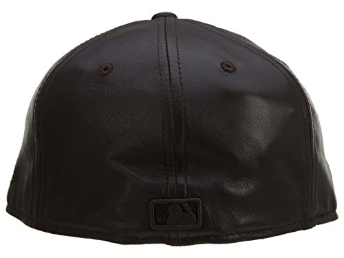 - New Era 2 Tone Leather New York Yankee 59 Fifty Fitted Hat Style: YANKEE18-Brwn/Blk Size: 7 3/4 Brown/Black