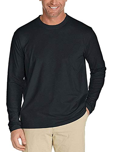 Men's UPF 50+ UV/Sun Protection Casual Long Sleeve T-Shirt (Black, Medium)