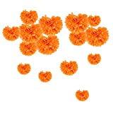 Tissue Paper Pom Poms Orange Flowers Pom Pom Decoration for Wedding Birthday Baby Shower Room Party Decor - 15pcs (5pcs 15/20/25cm)
