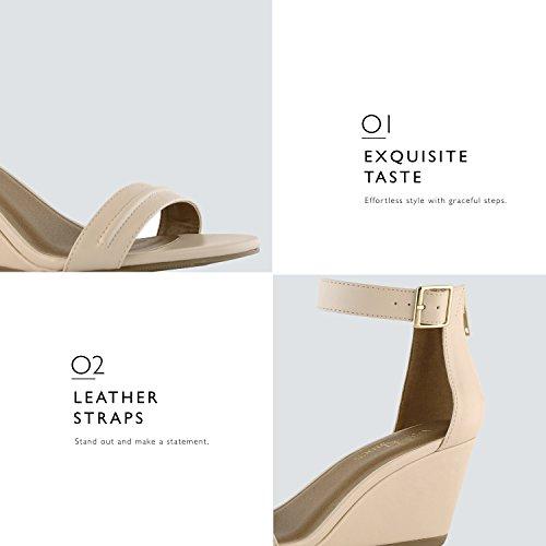 DailyShoes Womens Summer Fashion Design Ankle Strap Buckle Low Wedge Platform Heel Sandals Shoes Beige Pu nrAJqURHG0