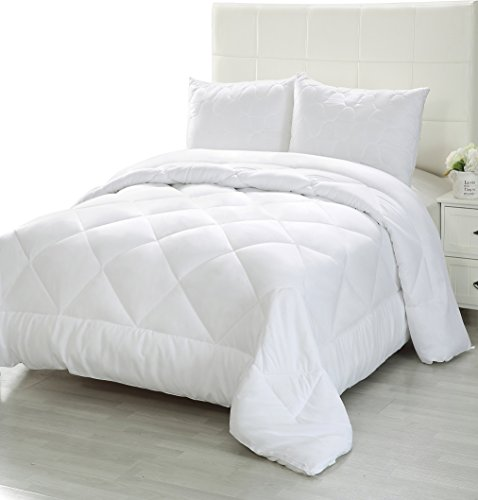 Comforter Duvet Insert - Quilted Comforter with Corner Tabs - Plush Siliconized Fiberfill, Box Stitched Down Alternative Comforter, Machine Washable by Utopia Bedding (White, King)