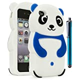 iPhone 4 Phone Case, Bastex 3D Silicone Dark Blue & White Panda Bear Case for Apple iPhone 4, 4sINCLUDES STYLUS