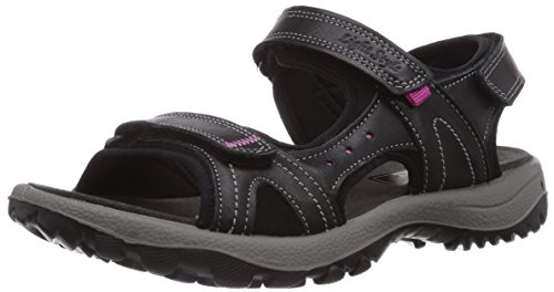 Manitu 910585 - sandalias abiertas de cuero mujer negro - negro