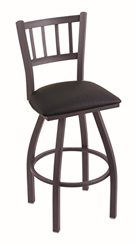 Holland Bar Stool Company 810 Contessa 30-Inch Bar Stool with Pewter Finish, Black Vinyl Seat and 360 Swivel