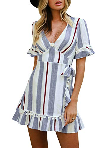 Simplee Women Sexy Deep V-Neck Short Sleeve Stripe Print Mini A Line Dress,Stripe Blue,4/6