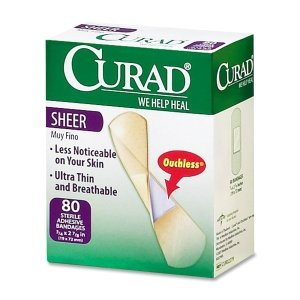 Medline Industries CUR02279 Sheer Adhesive Bandages, 3/4 in.x3 in., 80/PK