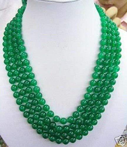 FidgetFidget Charming 8MM Green Chalcedony Round Gemstone Necklace 100