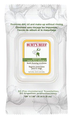 Burt's Bees Feuchttücher zur Gesichtsreinigung für empfindliche Haut mit Baumwollextrakt, 30 Stück