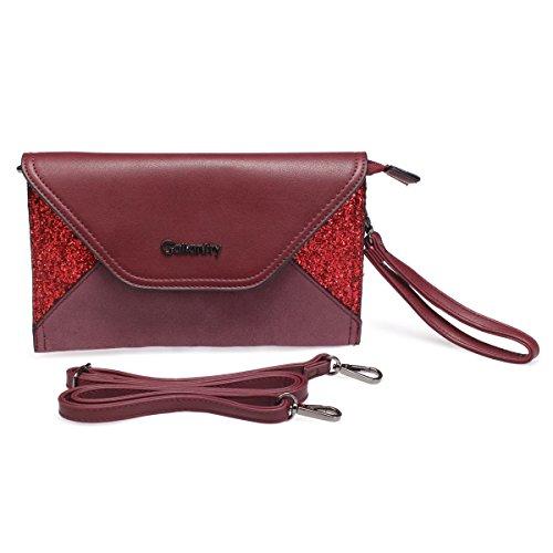 Pochette Rouge cuir simili en bi daim La et matière simili Modeuse vH75xnqwg
