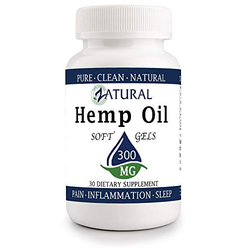 Hemp Oil Softgel 300mg: Hemp Seed Oil for Premium Relief from Pain, Stress, Anxiety, and More - Natural Anti-Inflammatory - High in Omegas (30 Softgel 300mg) ()